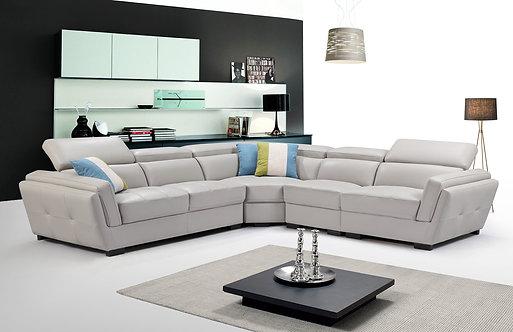 ESF 2566 Light Grey Top-grain Leather Modular Sectional Sofa Contemporary Modern