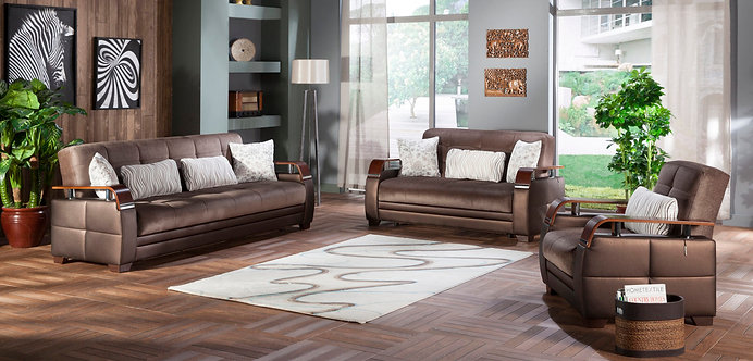 Natural Prestige Brown Sofa, Love & Chair Set by Sunset ( ISTIKBAL )