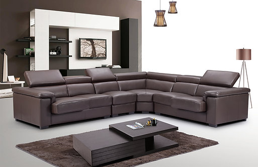 ESF 2605 Brown Top-grain Leather Luxury Sectional Sofa Contemporary Modern