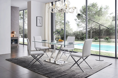 151 Dining Table w/Clear Glass Top & 6 Chairs by ESF