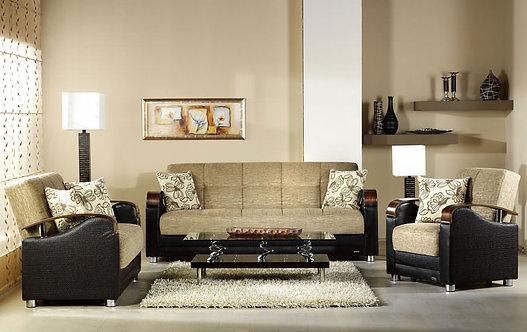 Luna Fulya Brown Sofa, Love & Chair Set by Sunset ( ISTIKBAL )