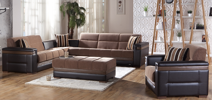 MOON TROYA BROWN SECTIONAL SOFA