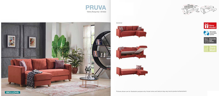 PRUVA VALERY BURGUNDY SECTIONAL SOFA
