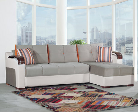 Divan Deluxe Golf Gray Convertible Sectional by Casamode