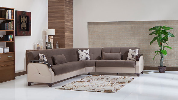 Trento Selen Brown Sectional Sofa by Sunset