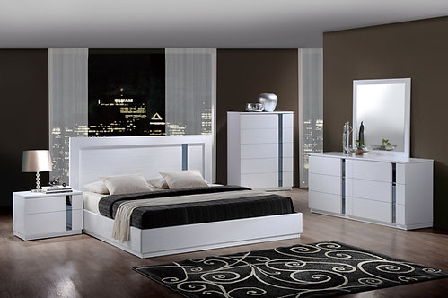Jody White Glossy Bedroom Set by Global Furniture