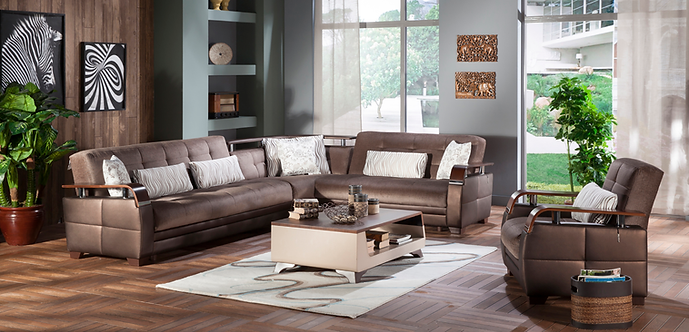 NATURAL PRESTIGE BROWN SECTIONAL SOFA