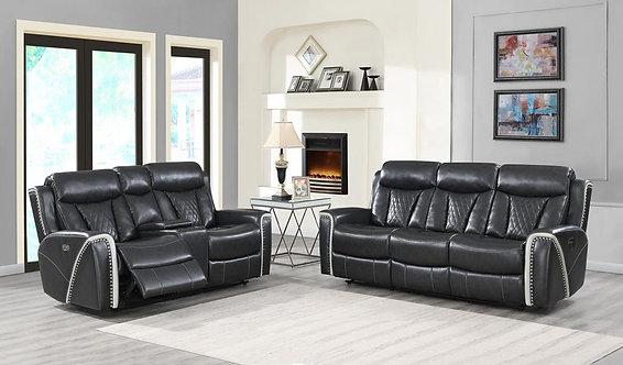 U1800 Power Motion Sofa in Grey Leather Gel