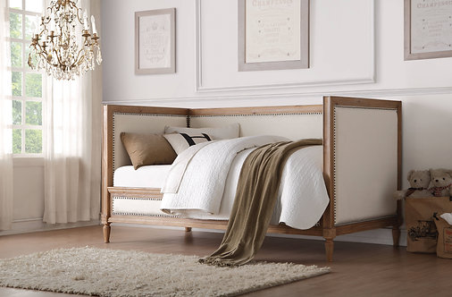 Charlton Daybed in Oak & Cream Linen by Acme