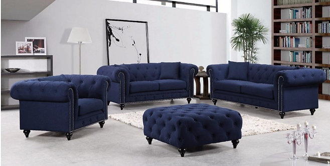 CHESTERFIELD NAVY LINEN SOFA SET 3PC BY MERIDIAN FURNITURE