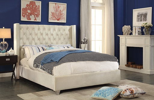 Aiden Cream Velvet Bed by Meridian Furniture
