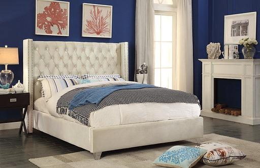 Aiden Cream Velvet Bed by Meridian Furniture