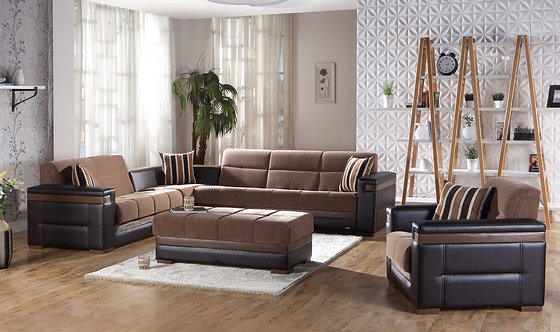 Moon Troya Brown Sectional Sofa by Sunset