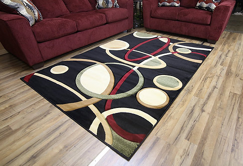 8654 Rosa Area Rug Black by Bekmez