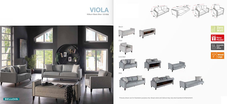 VIOLA KILBURN BASIC BLUE SOFA, LOVESEAT & CHAIR