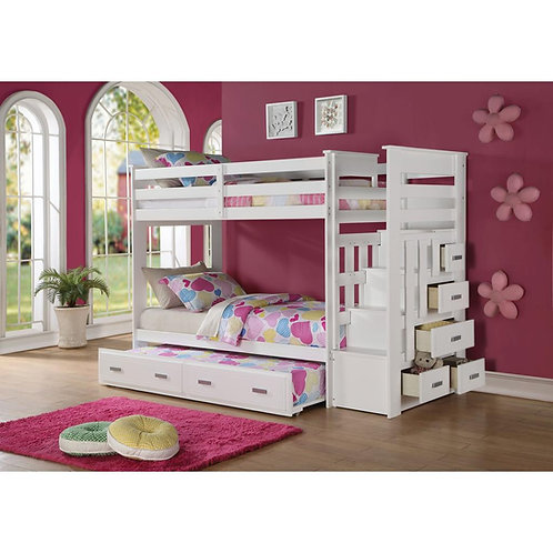 ALLENTOWN WHITE SOLID WOOD TWIN OVER TWIN BUNK BED WITH TRUNDLE AND STORAGE