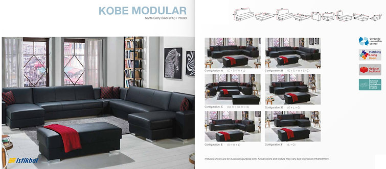 KOBE MODULAR SANTA GLORY BLACK (PU) SECTIONAL SOFA