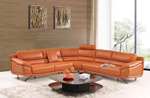 ESF GPS Modern Living 533 Orange Leather Sectional