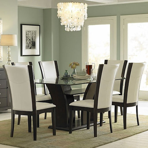 Daisy Glass Top Dining Room Set with White Chairs by Homelegance