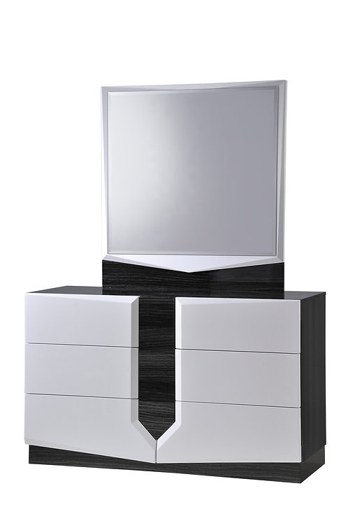 Hudson Zebra Grey & White Glossy Dresser by Global Furniture
