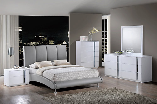 Jody White Glossy Bedroom Set (Grey PU Bed) by Global Furniture