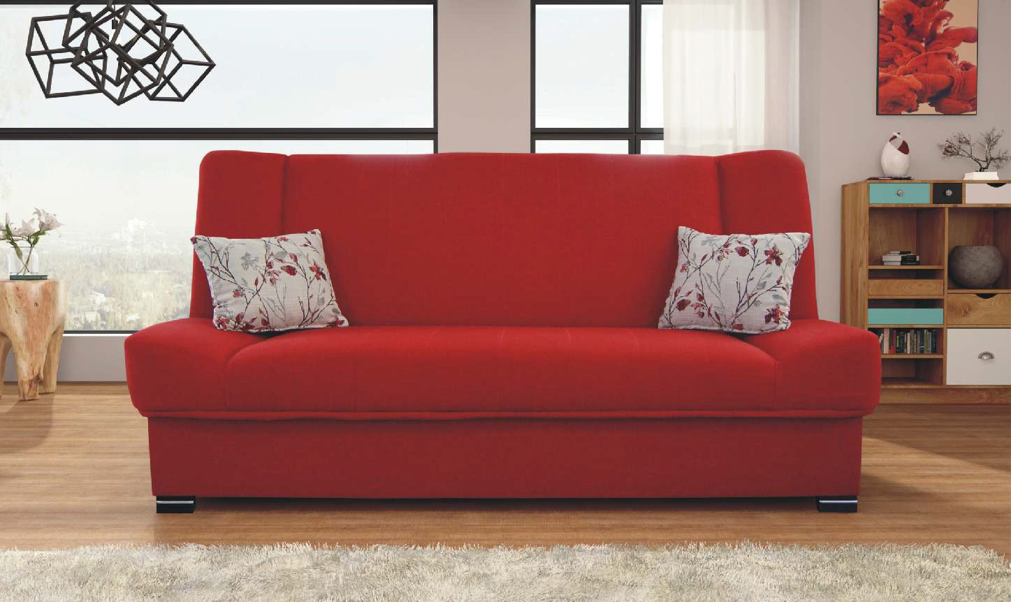 Natalia Red Sofa by Skyler Designs
