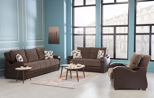 Bennett Armoni Brown Sofabed, Loveseat, Chair (ISTIKBAL)