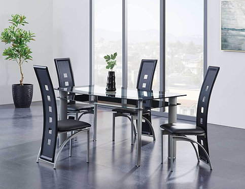 Dining Table Set Silver/Black Stripe Glass