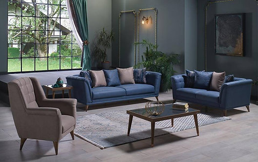 SELEGNO MELSON BEIGE SOFA, LOVESEAT & CHAIR