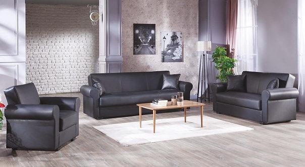 Floris Santa Glory Black Sofa, Love & Chair Set by Sunset ( ISTIKBAL )