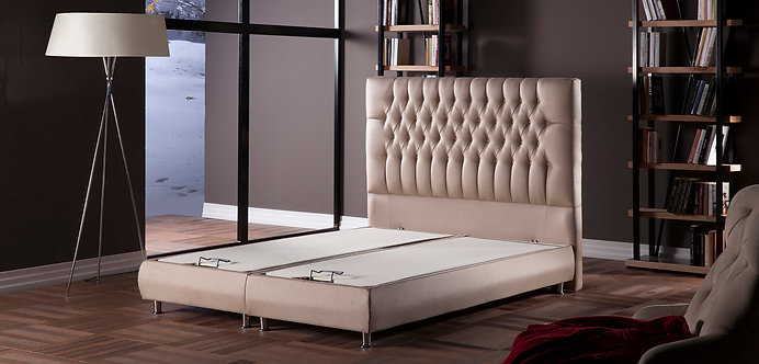 Prince Platform Bed w/Headboard Diego Beige by Sunset (ISTIKBAL)