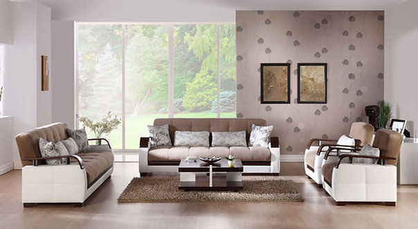 Natural Naomi Light Brown Sofa, Love & Chair Set by Sunset ( ISTIKBAL )