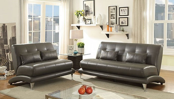 Sherri Collection Gray Leatherette Sofa & Loveseat