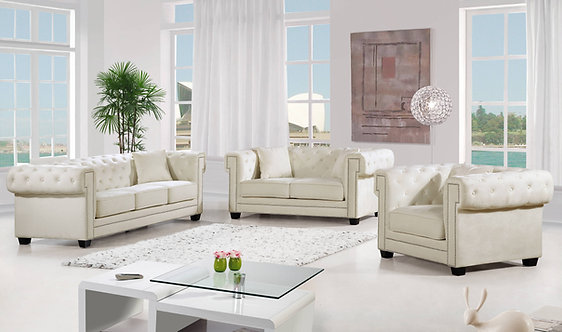 Bowery Cream 3pc Living Room Set by Meridian
