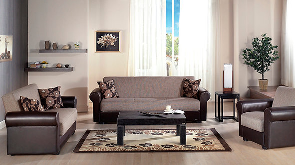 Enea Redeyef Brown Sofa, Love & Chair Set by Sunset ( ISTIKBAL )