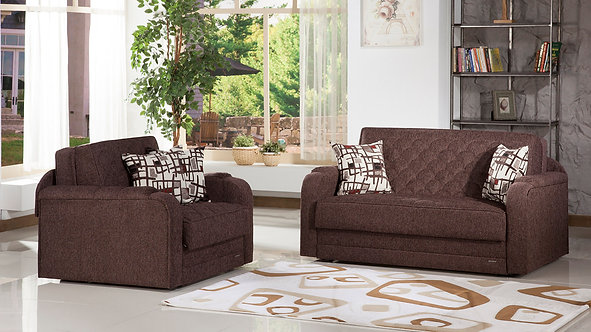 Verona Aristo Burgundy Loveseat/Full Sleeper by Sunset (ISTIKBAL)
