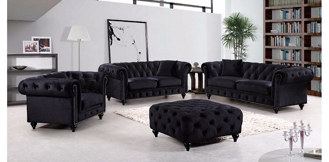 CHESTERFIELD BLACK VELVET SOFA SET 3PC BY MERIDIAN FURNITURE