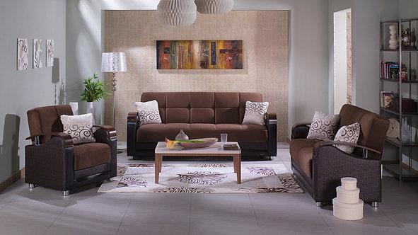 Luna Naomi Brown Sofa, Love & Chair Set (ISTIKBAL)