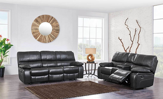 U0040 ESPRESSO GREY/BLACK RECLINING