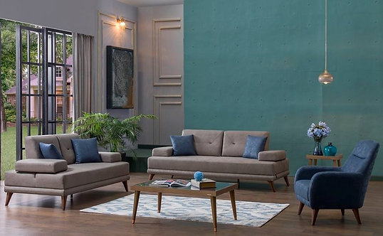ORNELLA VENA BLUE SOFA, LOVESEAT & CHAIR