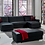 Thumbnail: KOBE MODULAR SANTA GLORY BLACK (PU) SECTIONAL SOFA