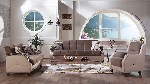 Trento Selen Brown Sofa, Love & Chair Set by Sunset ( ISTIKBAL )