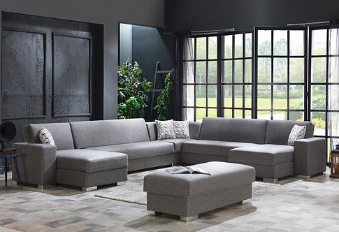 KOBE MODULAR DIEGO GRAY SECTIONAL SOFA