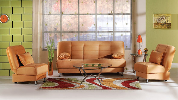 Vegas Rainbow Light Orange Sofa & 2 Chairs Set by Sunset( ISTIKBAL)