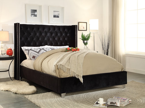 Aiden Black Velvet Queen Bed by Meridian Furniture