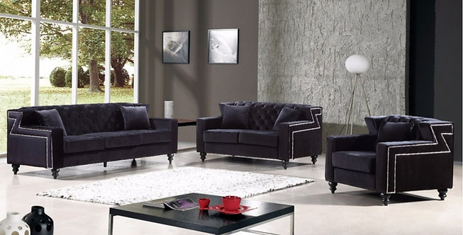 HARLEY BLACK VELVET SOFA SET 3PC BY MERIDIAN FURNITURE