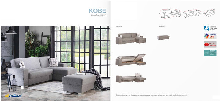 KOBE DIEGO GRAY SECTIONAL SOFA