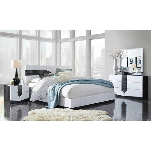 HUDSON ZEBRA GREY/WHITE BEDROOM SET