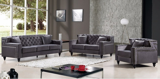 HARLEY GREY VELVET SOFA SET 3PC BY MERIDIAN FURNITURE