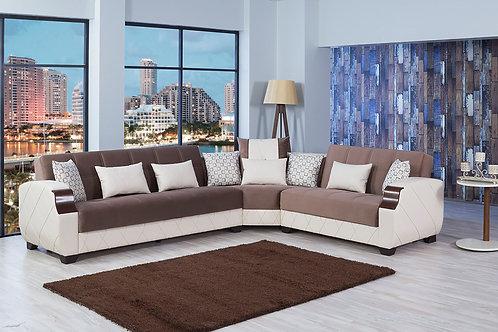 Molina Lyon Brown Sectional Sofa by Casamode